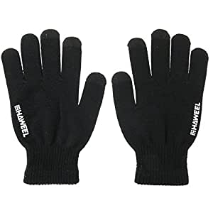 HAWEEL ® tres dedos tocan los guantes de pantalla para hombres (negro)