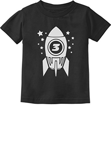 Gift for Three Year Old 3rd Birthday Space Rocket Toddler/Infant Kids T-Shirt 3T Black ()
