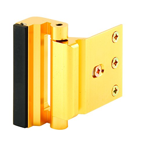 "Defender Security U 10826 Door Reinforcement Lock – Add Extra, High Security to your Home and Prevent Unauthorized Entry – 3"" Stop, Aluminum Construction (Gold Anodized - Locks Landlord"