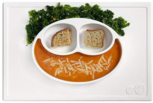 ezpz Happy Mat - One-Piece Silicone placemat + Plate (Cream) ()