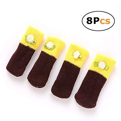 Chair Legs Cover Knit Boot Furniture Feet Protectors 8pcs (Brown+Yellow) (Edmonton Cheap In Furniture)
