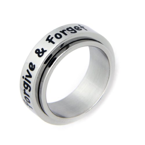 Forgive And Forget Spinner Ring - Stainless Steel Poesy Ring - Lovers Ring ()