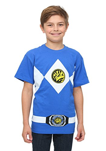 Power Rangers Youth Costume T-Shirt - Blue (Large) (Power Ranger Costume Blue)