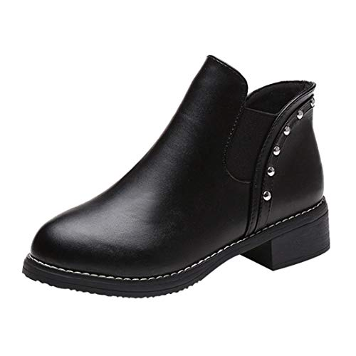 Women Boots,Ladies Rivets Flat Shoes Martain Boots Leather Ankle Boots Round Toe Shoes Size US 5.5-8