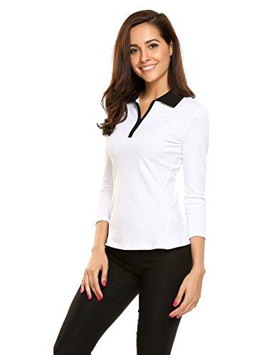 3/4 Sleeve Golf (Ekouaer Women Casual Collar 3/4 Sleeve Front Zip Elastic Polo T-Shirt)