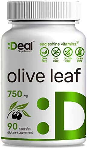 Deal Supplement Olive Leaf Extract 750mg, 90 Capsules, Standardized to 20 Oleuropein- Boost Immune System and Support Cardiovascular Health, Natural Antioxidant Supplement
