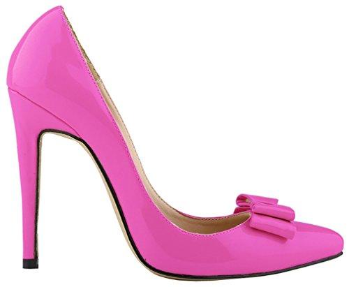 Harshiono® Donna In Vernice Con Fiocco Tacchi A Spillo Slip On Party Scarpe Da Lavoro Da Sposa Scarpe (7 B (m), Rosa)