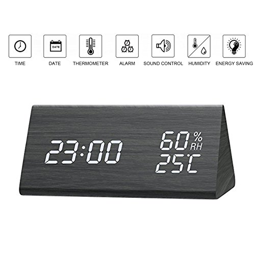 Amisofia Non-Ticking Green Alarm Clock Battery Powered Triangle Wooden Big Digital Display Date/Temperature/Humidity for Bedsides Adjustable Brightness and Triple Alarms Black