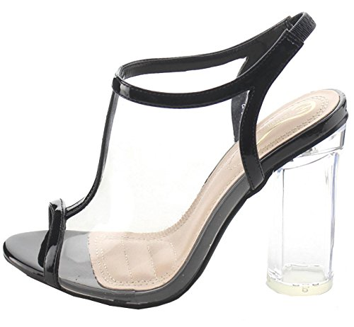 Elegant Schoeisel Womens Clear Lucite T-strap Slingback Dikke Hak Sandaal Zwart