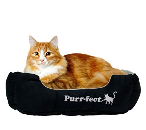 "Beatrice Home Fashions PRFCUD22GRY ""Purr-Fect"" Rectangle Plush Soft Suede Pet Bed, 22″ x 18″ x 6″, Black/Grey"