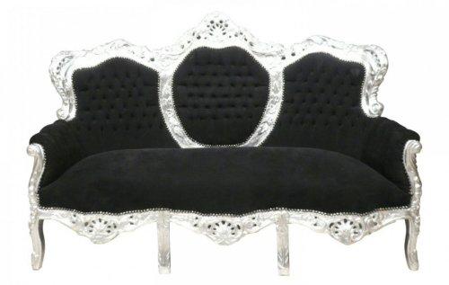 Casa Padrino Barock Sofa Garnitur King Schwarz/Silber - Möbel Wohnzimmer Couch