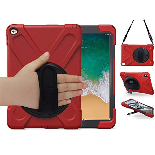 iPad Air 2 Case, TSQ Carrying Rugged Protective Case with 360 Degree Rotating Stand, Handle Hand Grip & Shoulder Strap, for Apple Tablet Air 2nd Gen Cover Skin for Kids Girls Boys A1566 A1567 Red