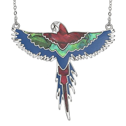 (BellaMira Abalone Shell - Hummingbird Kingfisher Parrot Macaw Woodpecker - Silver Plated Necklace Earrings Jewellery Set Inlaid Natural Paua Shell Gift Boxed (Red Blue Macaw - Flying))