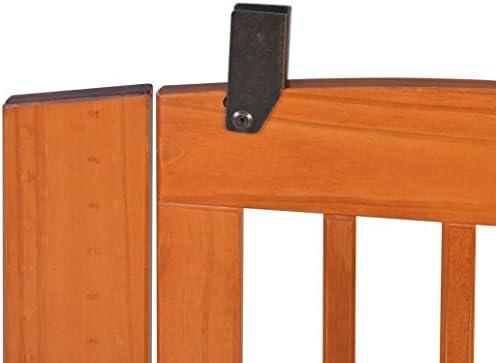 BarkWood Freestanding Wood Pet Gate - 3 Panel Expansion - with Walk-Thru Door - Medium - 24