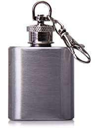 Bargain 1 oz Silver Portable Stainless Steel Hip Flask Keychain by Generic deal