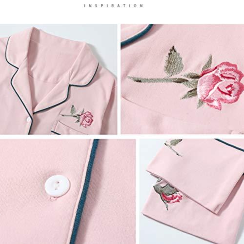 Largas Mujer Camisones Maravillosos Cómodo Mangas Rosa Conjunto Claro Dormir Algodón Regalos Las Suave Pink Piezas Light De Hembras Pijamas Dos Bordado Ropa Y Para CwqFH7