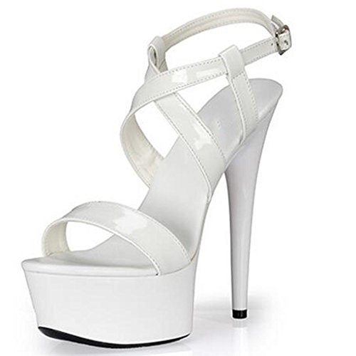 Negras Zapatos Gruesa Con Plataforma Para Abierta White Punta Banquete Hebilla Palabra Sandalias Mujer Impermeable De Puntera OwvqX