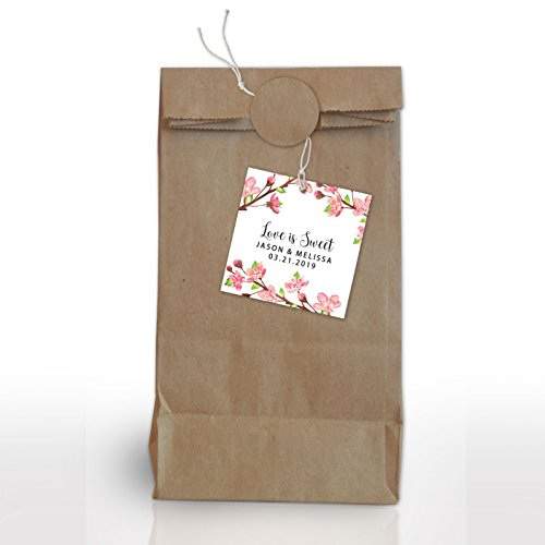 Personalized Gift Floral Bouquet - Cherry Blossom, Wedding Party Tags