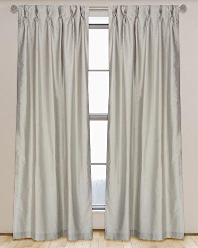 - LJ Home Fashions 573 ZOI Lined Faux Silk Pinch Pleat Tab Top Curtain Panel Pair, 30