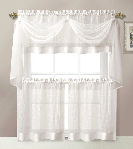 4 Pieces Linen Leaf Embroidery Kitchen Curtain Set 2 Tiers, 1 Valance & Scarf White