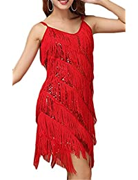 Women's V-Neck Strap Sequins Tiered Tassels Latin Dance Dress Ballroom Skirt Standard Party Dress