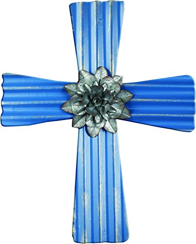 Manual  Blue Metal Corrugated Wall Cross