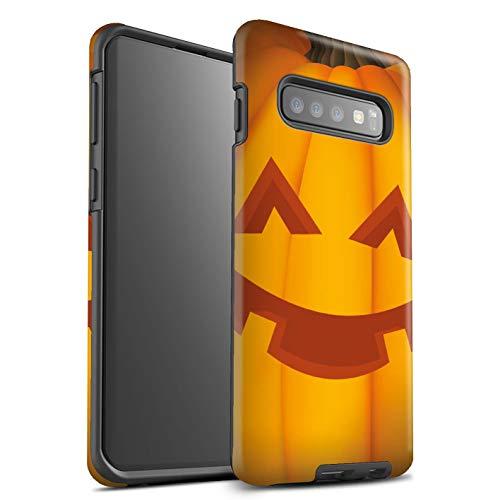 (eSwish Matte Tough Shock Proof Phone Case for Samsung Galaxy S10 Plus / Happy Design / Halloween Pumpkin)