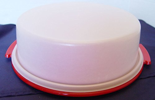 Vintage Tupperware 10 inch Round Pie / Single Layer Cake Taker Carrier with Red Base