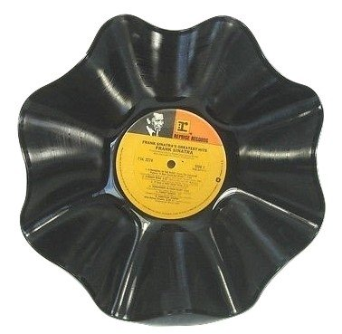- Vinyl Record Bowl hand crafted using a Frank Sinatra Album recycled