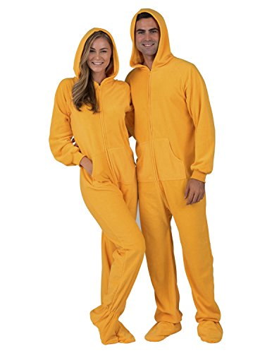 Footed Pajamas - - Creamsicle Adult Hoodie Fleece Onesie - Large Plus -
