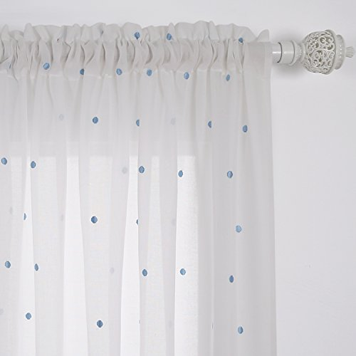 Deconovo White Curtains Embroidered Blue Dot Curtains Faux India Cotton Curtain Sheers 84 Rod Pocket Sheer Voile Curtain Panels for Living Room 52W x 84L Inch White 2 - India Store
