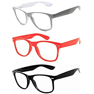 OWL - 80s Style Glasses for Women and Men - Clear Lens - White + Red + Black (3 Pack)