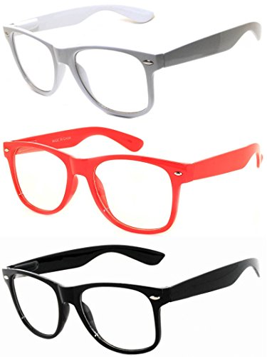 OWL - 80s Style Glasses for Women and Men - Clear Lens - White + Red + Black (3 - Glasses Style 80s