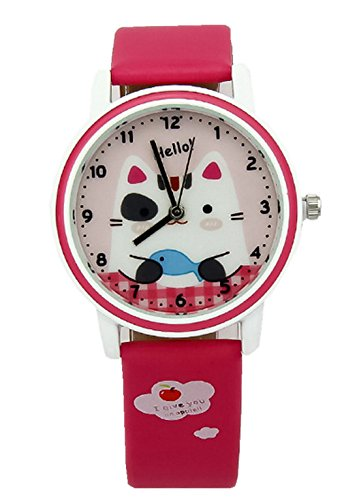kezzi-girls-wrist-watches-k667-quartz-analog-cartoon-kids-leather-strap-watch-red
