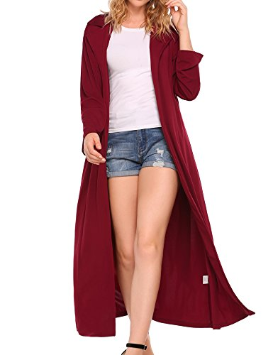 (OD'lover Open Front Long Sleeve Draped Belted Maxi Duster Cardigan Sweater Wine Red)
