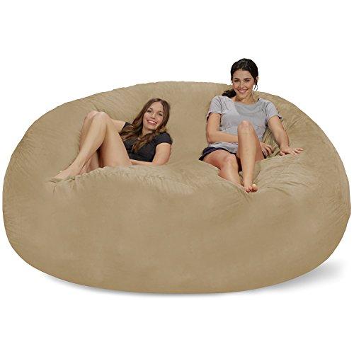 Chill Sack Bean Bag Chair: Giant 8' Memory Foam Furniture Bean Bag - Big Sofa with Soft Micro Fiber Cover - Camel