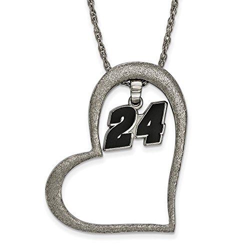 Stainless Steel Women's 24 Jeff Gordon NASCAR Jewelry Pendants & Charms 30 mm 18 in Heart Enamel 24 Dangle Pendant Necklace