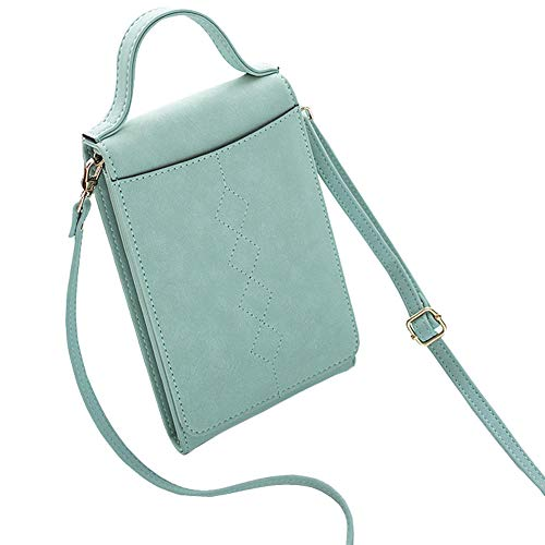 Coopay Womens Cross Body Bag Wallet Clutch, Roomy PU Leather Cell Phone Purse Ladies Handbag with Strap, Travel Crossbody Shoulder Bag for Women, Wallets for iPhone Samsung Huawei Google Pixel, Green ()