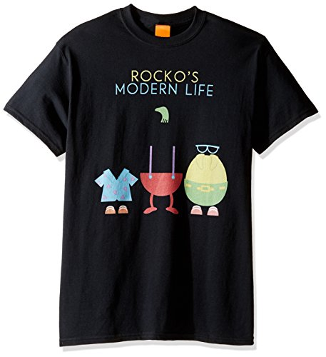 rocko's modern life Men's Big and Tall Character Cut-Outs T-Shirt, Black, 5XL