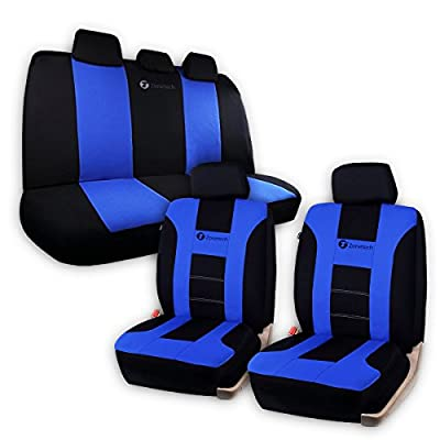 Zone Tech Universal Fit Car Seat Covers - Classic Black and Blue Premium Quality Racing Style Universal Fit Car Seat Cover