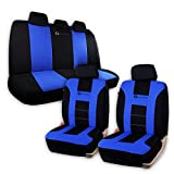 Zone Tech Racing Style Interior Premium Quality Black and Blue Car Seat Covers Full Set Universal Fit Cool Vehicle Protective Seat Covers