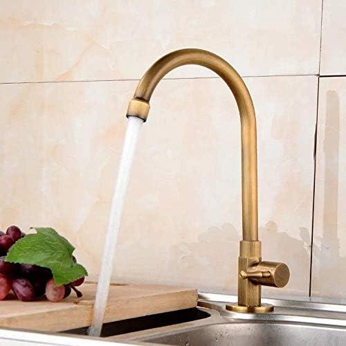 Gulakey ヨーロッパのアンティークキッチンシングルコールド銅が実用回転したユニバーサル洗濯洗面シンクシンクの蛇口美しいことができます