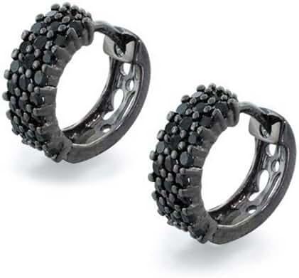 Bling Jewelry Black Rhodium Plated Silver CZ Black Huggie Hoop Earrings
