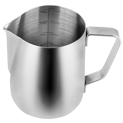 SZUAH Milk Frothing Pitcher, Stainless Steel Frothing Cup with Measurement Inside 10 oz (300ml), Perfect for Latte Art, Espresso Maker, Cappuccino Maker