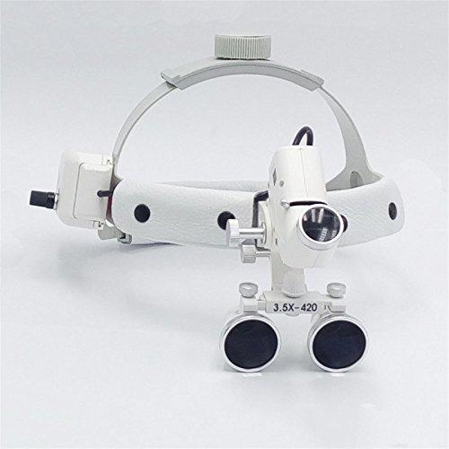 Denshine Dental Binocular Loupes Glasses Head Band Magnifier with LED Light 3.5X-420 Optical by Denshine (Image #3)
