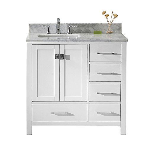 Virtu USA GS-50036-WMSQ-WH-001 Not Applicable Caroline Avenue 36 inch single Bathroom Vanity In White with Marble Top & Square Sink with Brushed Nickel Faucet & Mirror