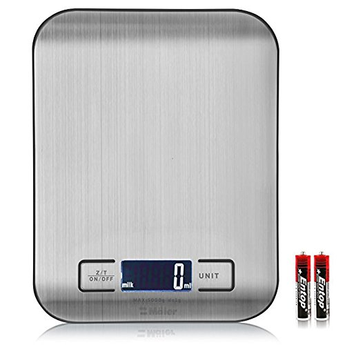 Digital Kitchen/Lab Scale, 30% Greater Accuracy Quad Transducer, Multi-Function Back-Lit LCD, Stainless Steel, 11 lbs, 5 kg (Batteries Included)