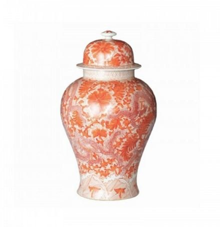 - Decorative Chinese Ceramic Orange Temple Jar with Dragon and Floral Motif Storage Container or Display Unit - Small
