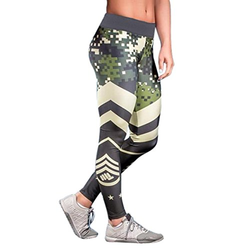 Han Shi Elastic Leggings, Women Sports Gym Yoga Workout Trouser Mid Waist Fitness Pants