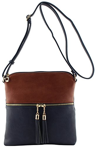 strap Amy adjustable shoulder with size tassels crossbody bag and amp;Joey navy Coffee medium Rq4wrvHR